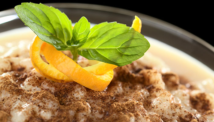 Creamy Custard Rice Pudding made with Bigelow Pumpkin Spice Tea