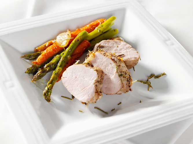 Grilled Pork Tenderloin with Bigelow Tea Glaze and Seasonal Vegetables