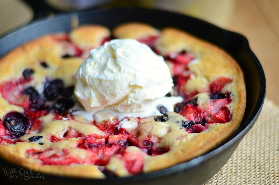 Triple Berry Skillet Tea Cobbler