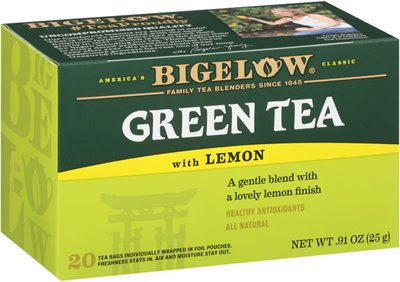 Green Tea with Lemon - Case of 6 boxes- total of 120 teabags