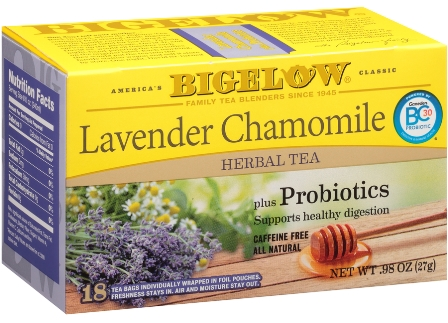 Lavender Chamomile Herbal Tea with Probiotics - Case of 6 boxes - total of 108 teabags
